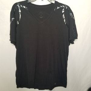 Armani v neck tshirt with pattern accent